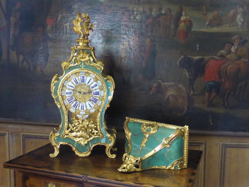 Important Cartel d'Applique Signé Et Sa Console Violonée Du XVIIIe Siècle