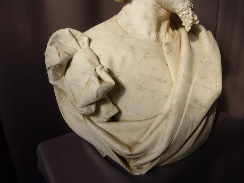Importante Sculpture En Marbre Signée Benvenuti-photo-1