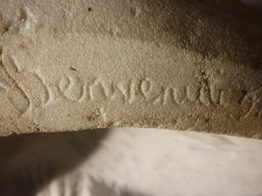Importante Sculpture En Marbre Signée Benvenuti-photo-6
