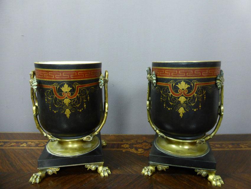 Paire De Cache-pots Montures Bronze Signées Picard
