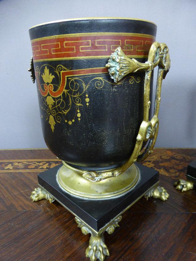 Paire De Cache-pots Montures Bronze Signées Picard-photo-2