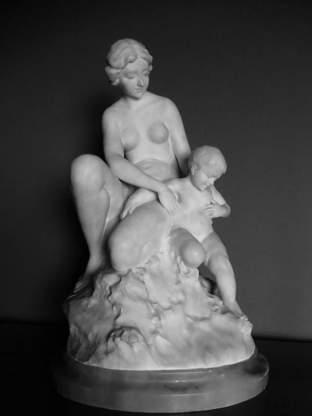 Groupe En Albâtre Sculpté Signé A Del Perugia