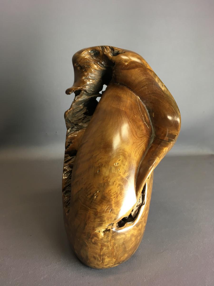 """Sculpture En Bois, Signée """"couradin-photo-3"""