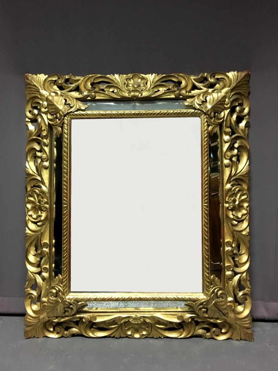 Grand miroir En Bois Doré, Epoque Napoléon III