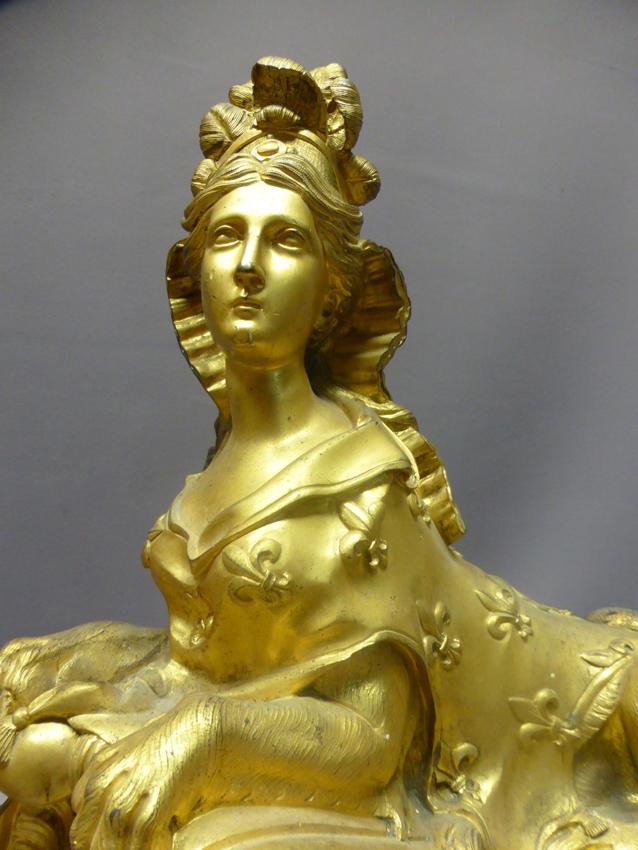 Chenets En Bronze Doré -photo-4