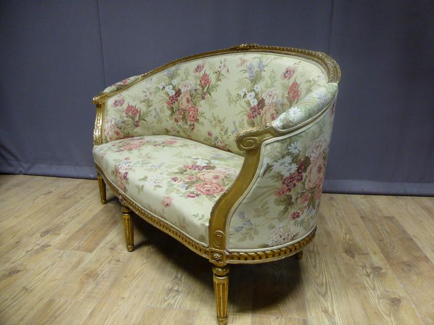 Canapé corbeille En Bois Doré Style Louis XVI