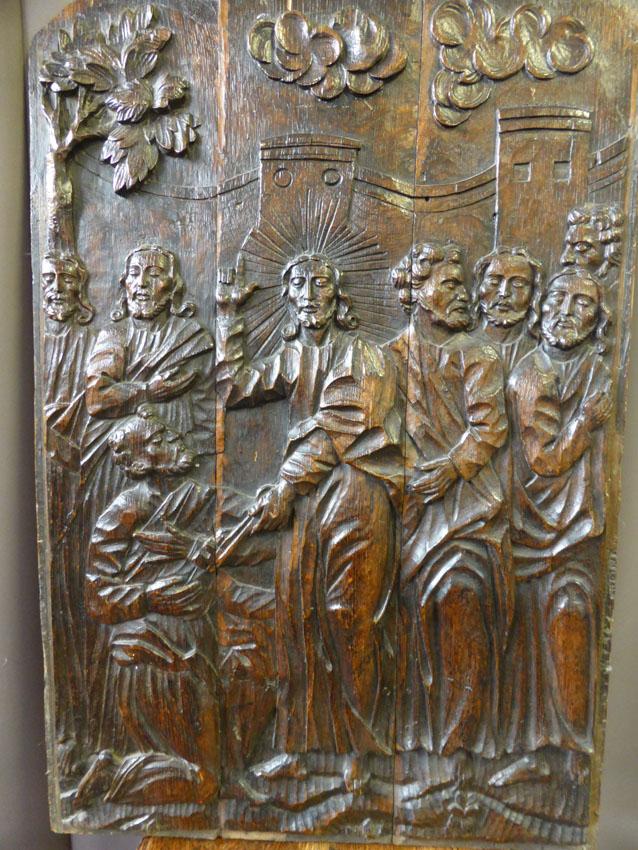 Panneau Religieux Sculpté XVIIème
