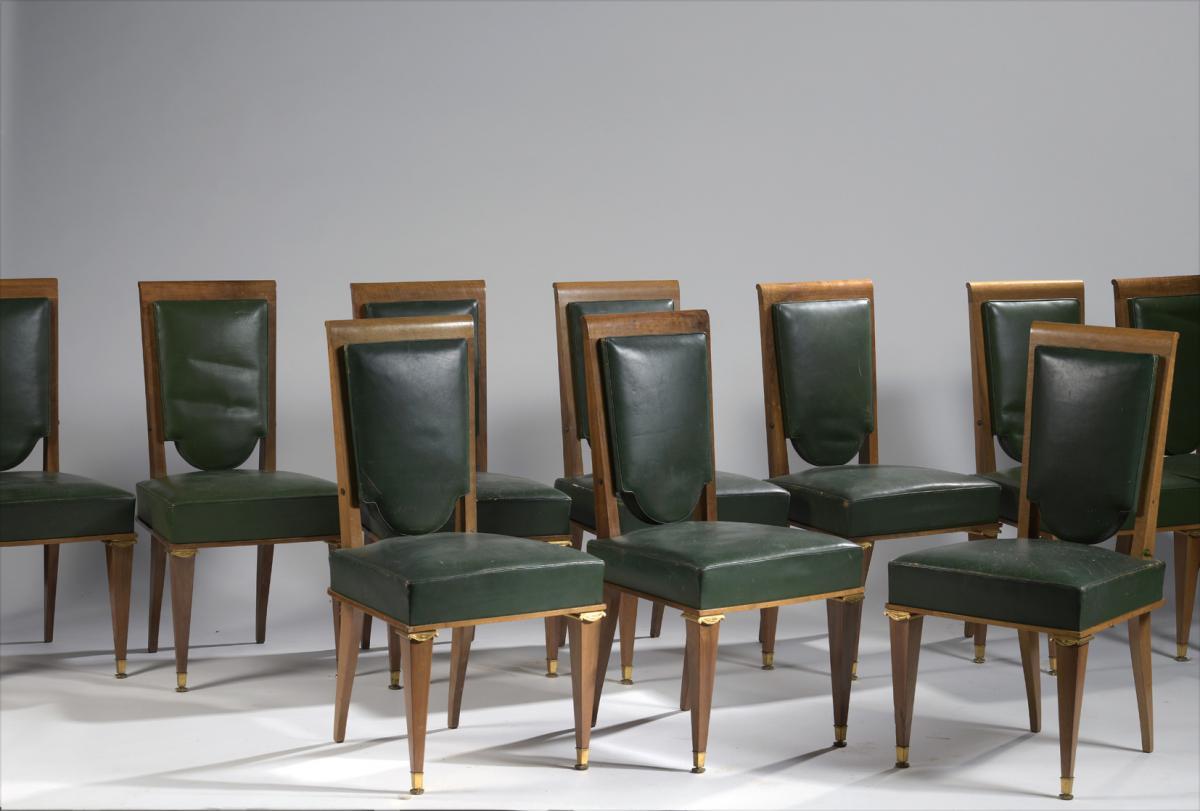 Suite De 12 Chaises Art Déco (suiveur De Maurice Jallot)