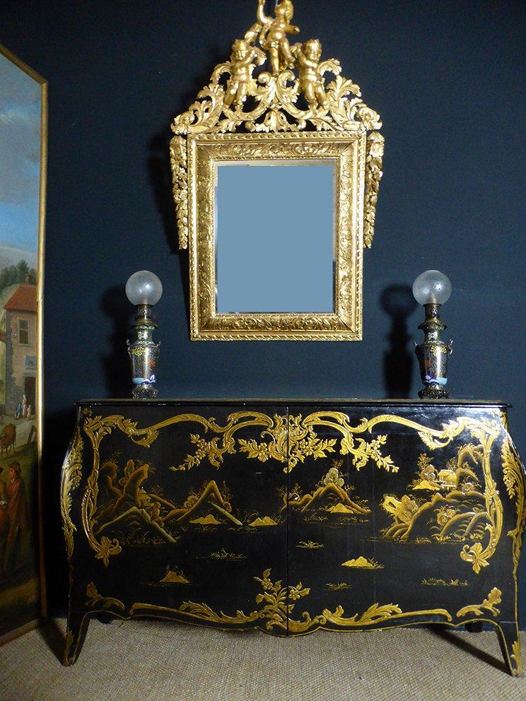 Miroir Régence En Bois Doré
