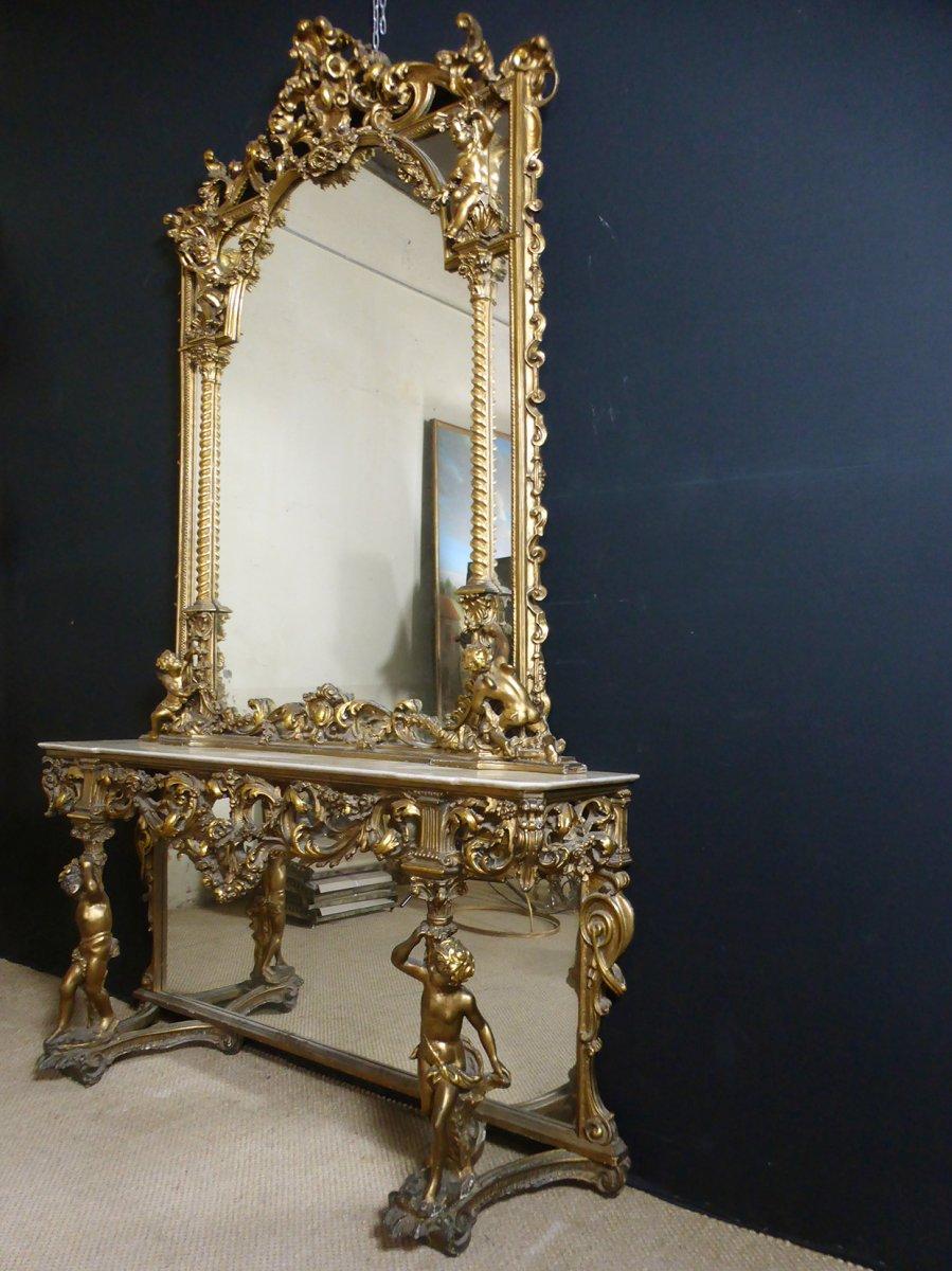 Console Et Son Miroir En Bois Doré