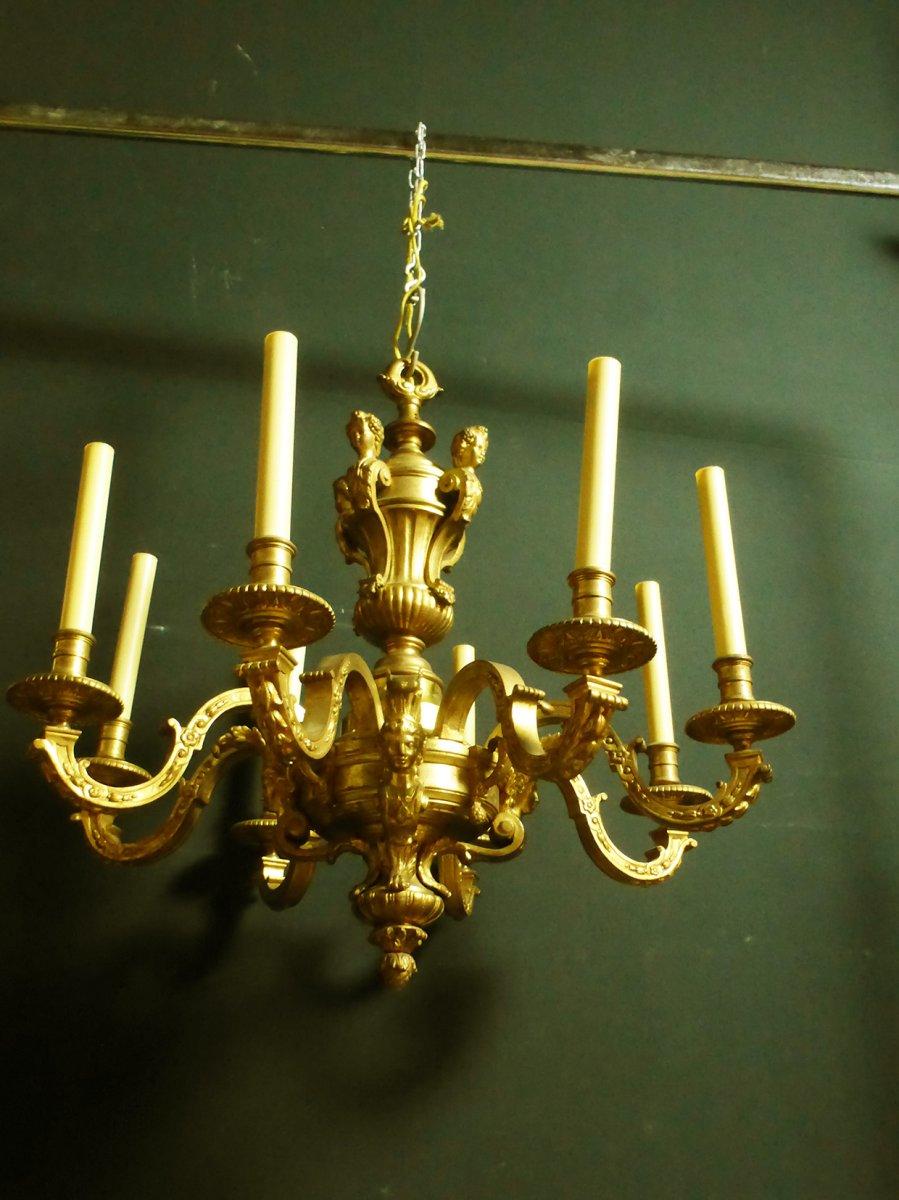 Lustre En Bronze Doré Style Louis XIV