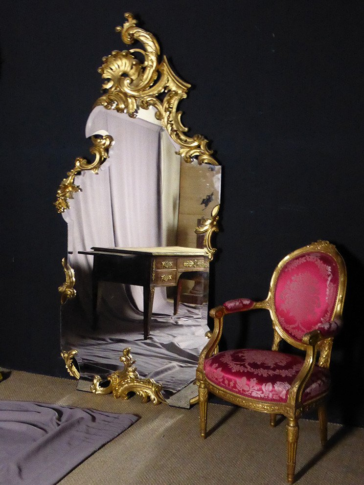 Large Golden Wood Foot Mirror