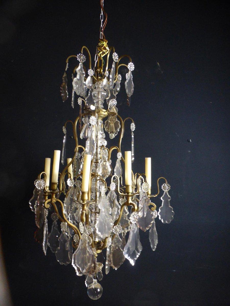 Grand Lustre Cristal Et Bronze XIX