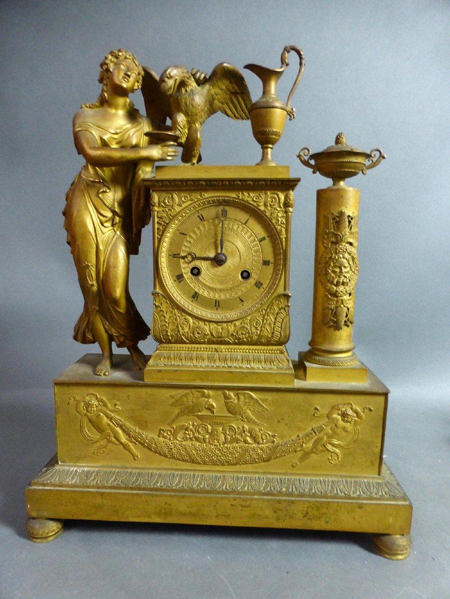 Pendule Empire En Bronze Doré