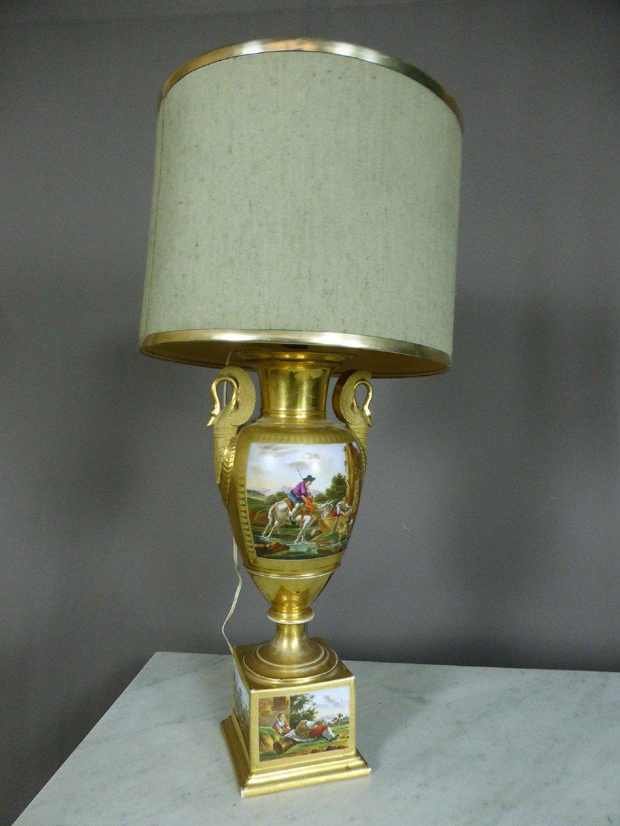 Lampe En Porcelaine De Paris De Style Empire-photo-6