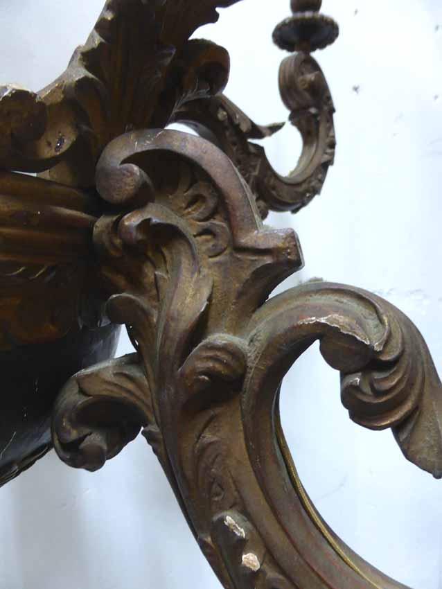 Lustre En Bois Peint Style Rocaille-photo-4