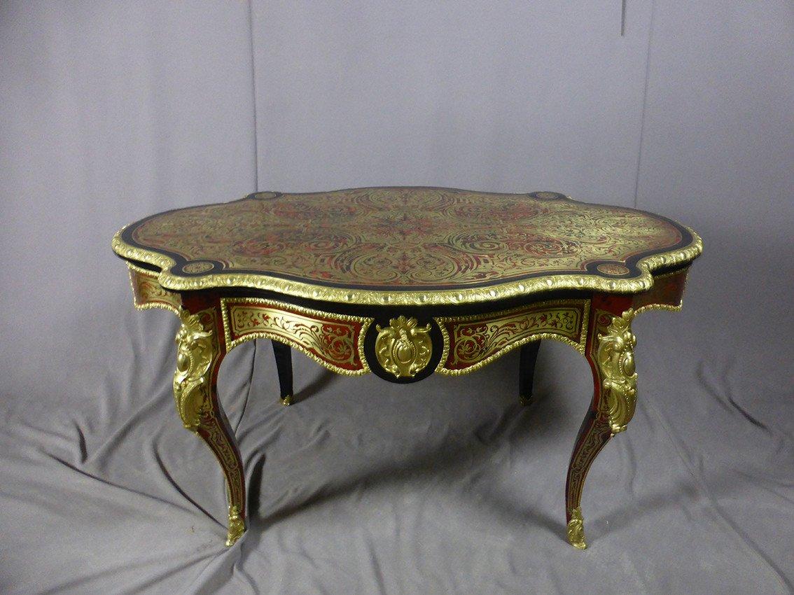 Table En Marqueterie Boulle Signée Diehl Paris -photo-8
