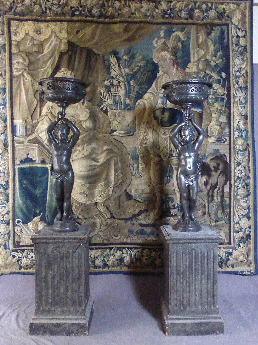 Paire De Statues En Fonte XIX-photo-8