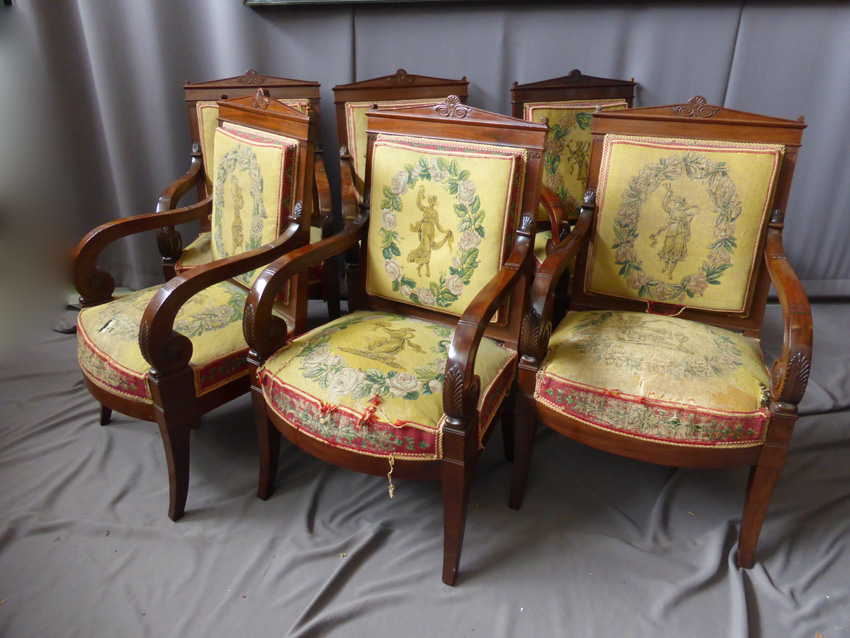 Suite 6 Chairs Empire, XIXth