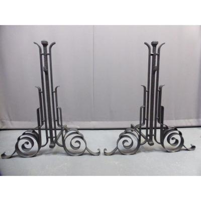 Andirons Wrought Iron Attributed To Charles Piguet