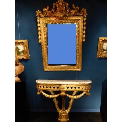 Miroir Et Console Bois Doré
