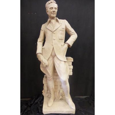 Grande statue (1.85 m) De Cavalier  En Pierre XX