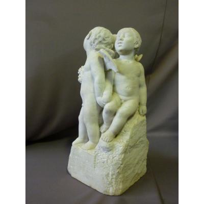 Sculpture En Marbre Angelots Signée G.léonetti