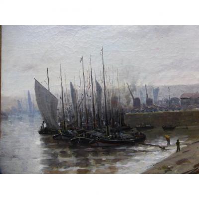 """Tableau XIX """" Bateaux Au Port """" Ecole Française H.Delpech"""