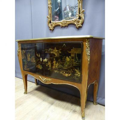 Marquetry And Lacquer Buffet From China