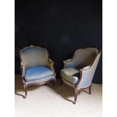 Pair Of Bergeres Style Louis XV