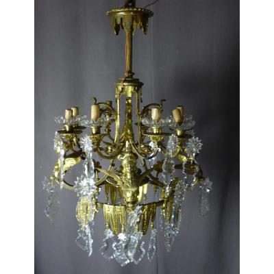 Gilt Bronze Chandelier With Winged Sphinges