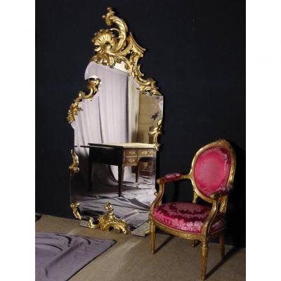 Grand Miroir De Pied En Bois Doré