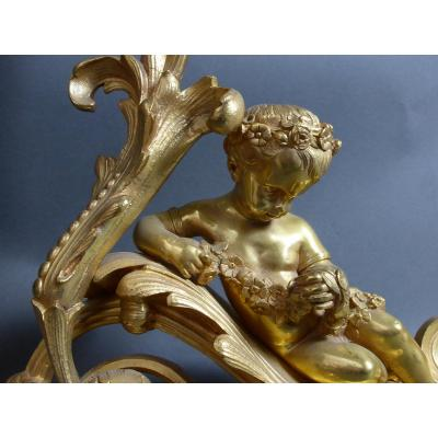 Andirons In Gilt Bronze
