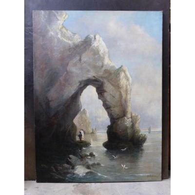 Large oil on canvas representing the famous cliff of Etretat in Normandy signed A.Defaux. Period XIX. Dimensions: 1.30 mx 0.97 m
