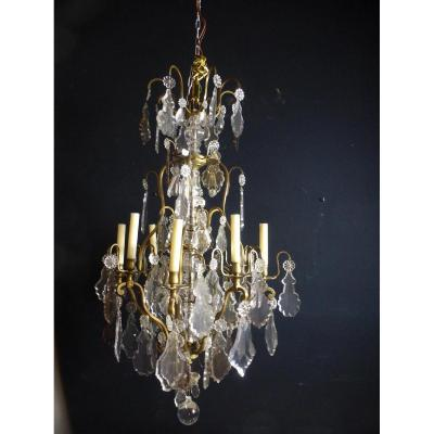 Large Crystal And Bronze Chandelier XIX