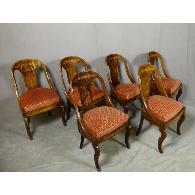 Suite De Six Chaises Charles X Estampillées