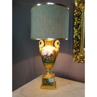 Lampe En Porcelaine De Paris De Style Empire