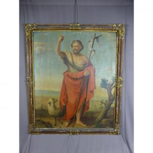 """Grand Tableau XIX """" Saint Jean Baptiste et l'agneau mystique """" cadre XVII."""