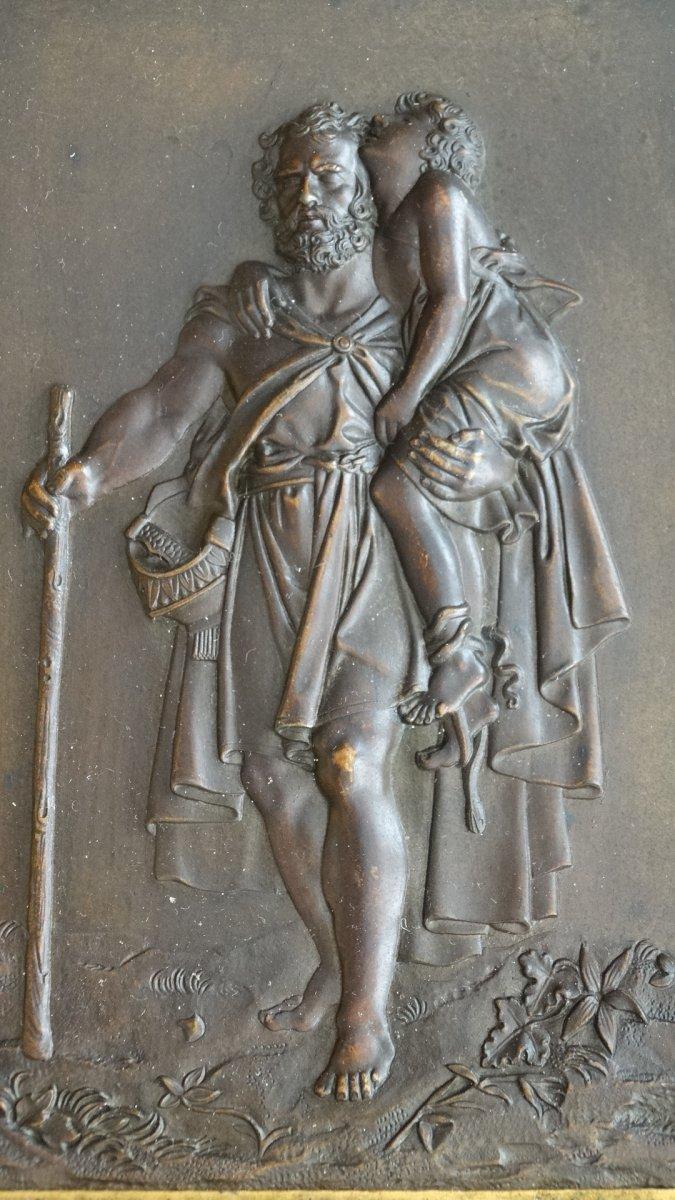 Paire de cadres en bronze à sujets Mythologiques-photo-2