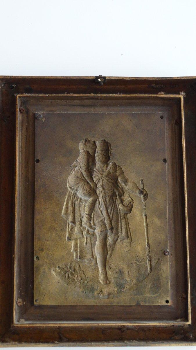 Paire de cadres en bronze à sujets Mythologiques-photo-1