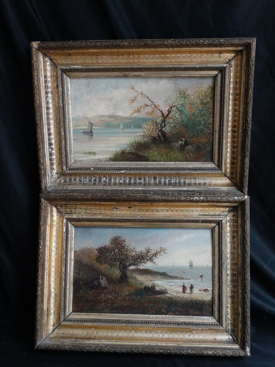 """""""Paysages animés de personnages"""" paire d'huiles sur panneaux 19ème-photo-4"""