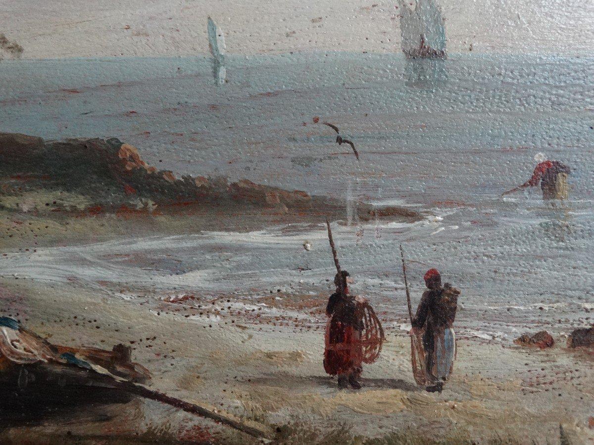 """""""Paysages animés de personnages"""" paire d'huiles sur panneaux 19ème-photo-5"""