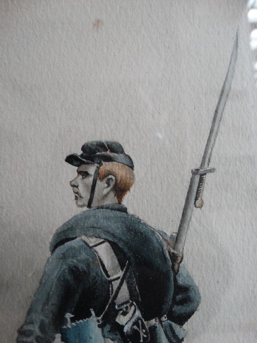 """""""Militaire en tenue """" aquarelle de 1897 par A de Saint Maresville-photo-2"""