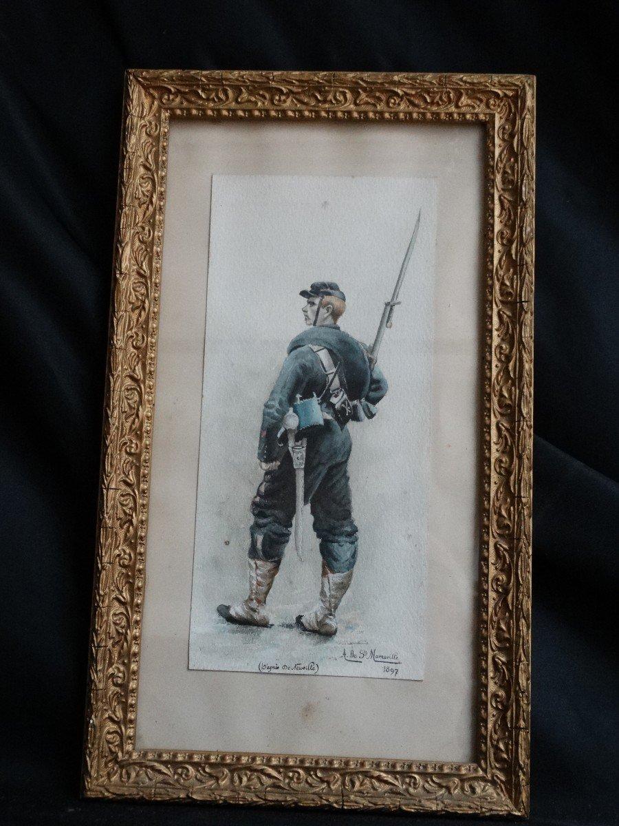 """""""Militaire en tenue """" aquarelle de 1897 par A de Saint Maresville-photo-4"""