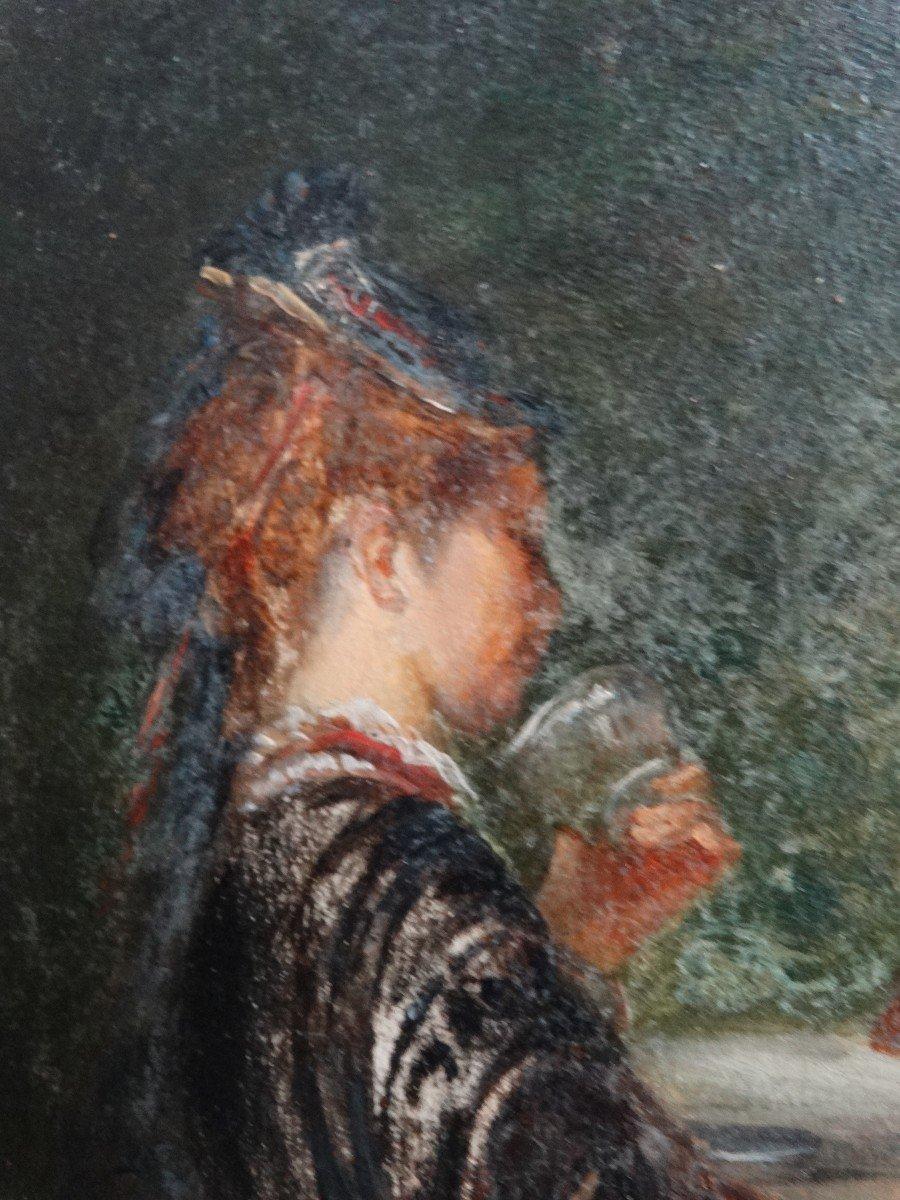 """""""Les amateurs de thé"""" , scène de genre du 19ème -photo-4"""