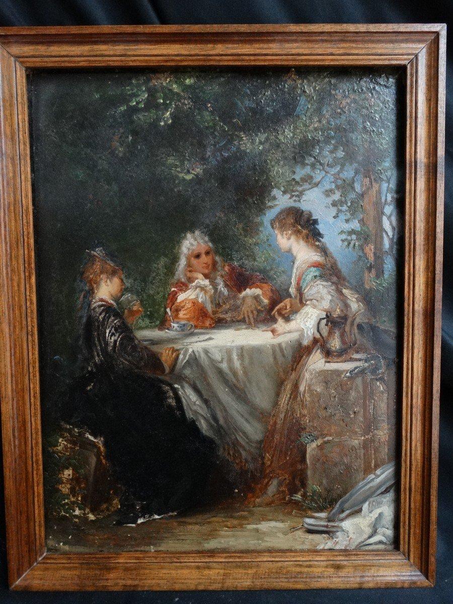 """""""Les amateurs de thé"""" , scène de genre du 19ème"""