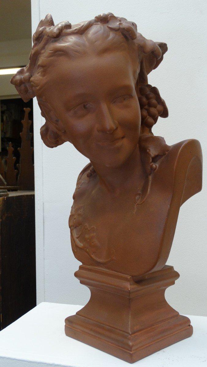 """""""l'espiègle"""" buste en  plâtre d'après JB Carpeaux"""
