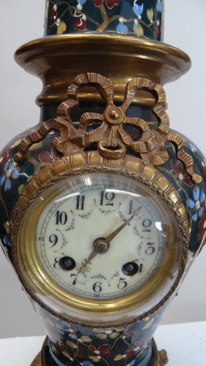 pendule bronze et faîence-photo-2