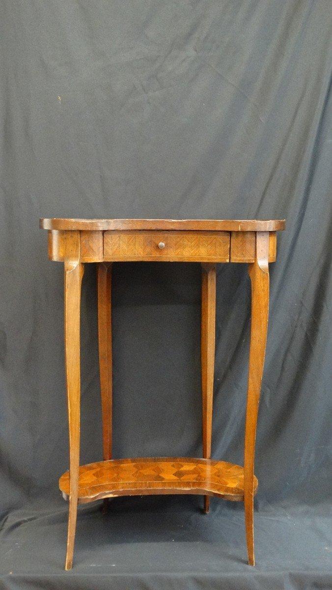 table rognon marqueterie