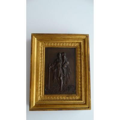 Paire de cadres en bronze à sujets Mythologiques